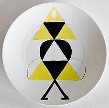 Sonia DELAUNAY (1885-1979) Danseuse jaune.  Assiette en porcelaine de Limoges  Ed