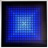 Victor VASARELY (1906-1997) Composition bleue.  Sérigraphie en couleurs signée en