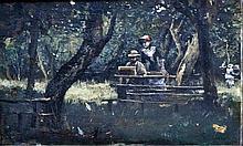 Norbert GOENEUTTE (1854-1894) Souvenir du dîner à l'Opéra.  Huile sur panneau sig