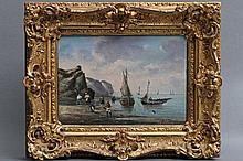 GILBERT, VICTOR GABRIEL (1847-1935), 'Küstenlandschaft mit Fischerbooten und Figurenstaffage'.