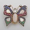 Antike, hochfeine Schmetterling-Brosche. Bes. mit Diam.-Rosen zus. ca. 4,5 cts. in feiner Qualität, sowie Rubine, Safire u. Smarade.