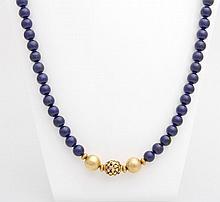 Lapis-Lazuli Kugelkette mit Zwischenteilen