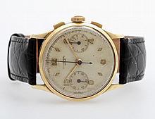 UNIVERSAL GENEVE Herrenuhr, 1950er Jahre, Chronograph. GG 14K.