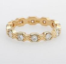 Memoire Ring mit zwölf Diam.-Brill. zus. ca. 0,6ct, W/ PI.