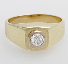 Ring besetzt mit einem Diam.-Brill., ca. 0,48ct, W/ PI (kleiner Ausbruch an Oberteil).