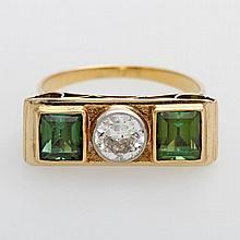 Damenring, bes. mit einem Altschliff-Diamant ca. 0,60ct W/Pique