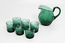 AUS DER SAMMLUNG DER MARKGRAFEN UND GROßHERZÖGE VON BADEN (Sotheby's 1995): BÖHMEN Wasserkrug mit 6 Gläsern, um 1900.