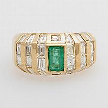 Damenring bes. mit einem Smaragd (Rißchen) sowie Diamanten zus. ca. 1,7ct, Weiß/ VS-SI.