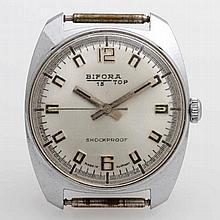 BIFORA Armbanduhr, Edelstahl, 1970er Jahre.