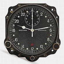 WAKMANN BREITLING Cockpit-Uhr, zivile Luftfahrt, ca. 1950/60er Jahre.