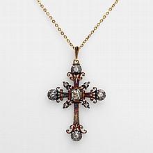Kreuz- Anhänger, antik, mit Kette. Anhänger besetzt mit Diamant- Rosen.