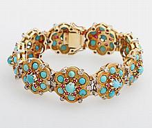 Armband m. blütenförmigen Elementen, bes. mit Türkisen, Rubinen u. kleinen Diamanten.