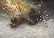 SCHATZ, ARNOLD (1929-ca. 1999): Wildschweine brechen durchs verschneite Unterholz.