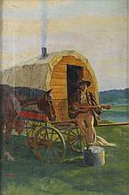 OSTERMAYER, ERNST-LUDWIG ATTR. (1868-1918): Fahrender Geselle beim Gitarrenspiel.