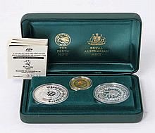 Australien/GOLD - 'The Sydney 2000 Olympic Coin Collection', 1 x 100 Dollars 2000 GOLD ca. 10 g,