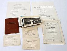 Konvolut Deutsches Reich/Württemberg aus a) Urkunden, b) Postkarten, c) Mitgliedsbuch Bauarbeiterverband 1911 und weiterem,