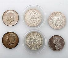 Konvolut - 3 x 10 DEM, 1 x 5 DEM (CuNi), 2 x 1/2 Dollar
