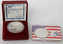 2 Silberunzen - Russland 3 Rubel 1990 und USA 1 Dollar 1993,