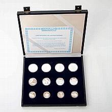 Mexiko 1986 / Silber - 12 Silbergedenkmünzen aus Mexiko: 4 x 25 Peso + 4 x 50 Peso + 4 x 100 Peso, 1985-86,