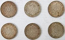 Dt. Kaiserreich - Konvolut: 6 x 3 Mark, Baden, Bayern (2), Hamburg,