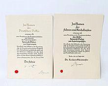 III. Reich - 2 Ernennungsurkunden für den Assessor und Regierungsassessor Heinrich Weber,
