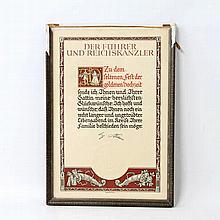 III. Reich - Glückwunsch-Urkunde zum Fest der Goldenen Hochzeit
