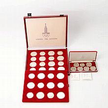 Russland - Box Olympia 1980 Moskau mit 14 x 10 Rubel und 14 x 5 Rubel Ag,