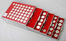 BRD - 6 LINDNER Tableaus mit 10 DM und 5 DM Münzen.