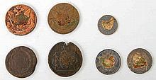 Russland - Konvolut: 7 Stück, teils Kopeken Katharina II:, alle mit Klebespuren,