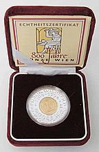 Österreich/BIMETALL Au, Ag - 1000 Schilling 1994, 800 Jahre Münze Wien,
