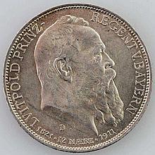 Bayern - 3 Mark 1911, 90 jährig. Luitpold,