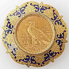 USA/GOLD - 5 Dollars 1911, Indian Head, gefasst an Brosche, filigrane Handarbeit,