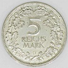 Weimarer Republik - 5 Reichsmark 1925 D, Jahrtausendfeier Rheinlande,