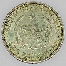 Weimarer Republik - 3 Mark 1927 F, 450 Jahre Universität Tübingen,
