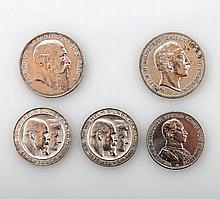 Deutsches Reich - Konvolut: 5 Münzen, darunter 1 x Baden 5 Mark 1907 G,  1 x Preußen 5 Mark1902 A,