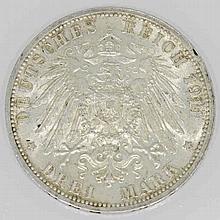 Kaierreich - Württemberg 3 Mark Silberhochzeit 1911, Charlotte und Wilhelm II.,