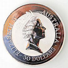 Australien - 1 Kilo, 999 Silber Kookaburra 1992, 30 Dollar +