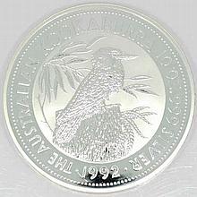Australien - 1 x 10 Unze Feinsilber Kookaburra 1992, 10 Dollar +