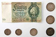 Deutsches Reich - Konvolut: 3 x 5 Mark Sachsen/Württemberg/Preußen,