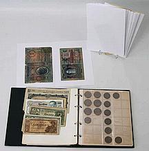 Münzen und Banknoten - Kleine Sammlung im Album, ca. 86 Banknoten (meist nach 1945), dazu ca. 96 Kleinmünzen,