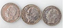 Baden - Konvolut: 3 x Drei Mark, Friedrich II.