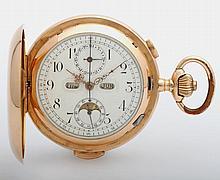 Taschenuhr, Savonette, Ende 19.Jh., mit Chronograph, Kalender und Mondphase sowie Minutenrepetition. GG 18K (auch SD).