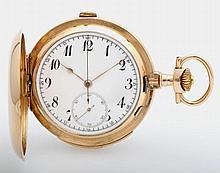 Taschenuhr, Savonette, Ende 19.Jh./Anfang 20.Jh., mit Chronograph (Stoppuhr) und Minutenrepetition.
