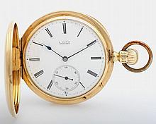 A. LANGE DRESDEN Taschenuhr, Savonette, um 1870, GG 18K (auch SD), guillochiert.