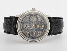 AUDEMARS PIGUET Herrenuhr mit ewigem Kalender und Mondphase, skelletiert. PLATIN. D: ca. 36mm (ohne Krone).