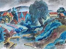 FEHRLE, JAKOB WILHELM ATTR. (1884-1974): Schwäbisches Dorf am Fluß.