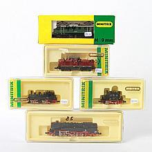 Minitrix Konvolut von 5 Lokomotiven 2053, 12835, 12015, 2048 und 2033, Spur N.