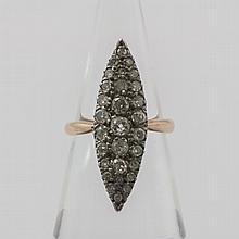 Damenring Art Dèco Rosègold/ Silber besetzt mit Diamanten (3 Diamanten besch.!).