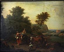 BERCHEM, NICOLAES (1620-1683), Umkreis: Mythologische Szene in italienischer Ideallandschaft.