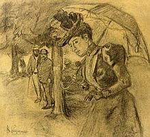 LANGHAMMER, ARTHUR (1854-1901): zwei Männer im park beobachten eine junge Dame.